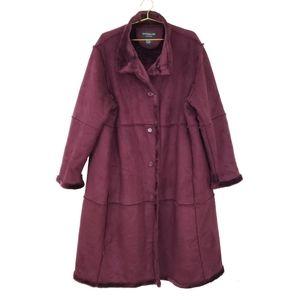Centigrade Outerwear Oxblood Faux Shearling Coat